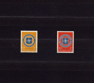 Netherlands 377 - 78 10th Anniv.  Of Nato,  Showing Nato Emblem photo