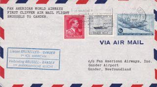 Belgium : Pan American First Flight Cover,  Bruxelles - Gander,  Newfoundland (1946) photo