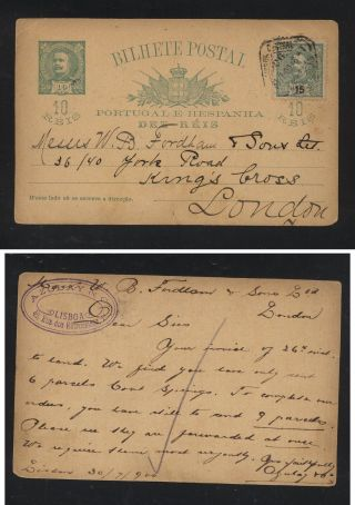 Portugal Uprated Postal Card To England 1900 Ms0827 photo