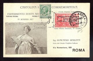 Three Italy Airmail 1st 2st Flight Torino Roma Napoli Palermo 1917 Rocket 1934 photo