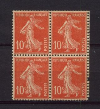 France 1919 Sg 333c 10c Sower Type Iii Block 4 Mnh+flaw photo