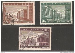 Russia 1939,  Moscow Scenes,  Sc 706 - 708,  Vf photo