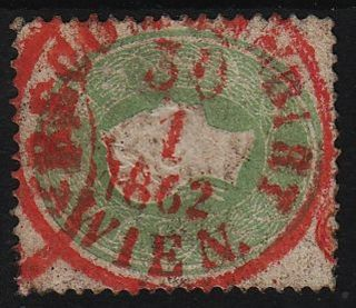 Austria 1861 3kr,  Green,  Stamp,  Red Recommandirt/wien/1862 Can. photo