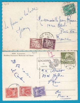 Switzerland 2 Ppc ' S 1936 Ambulant,  1956 Locarno To France With Postage Due photo