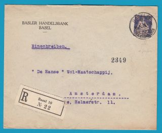 Switzerland R Cover 1925 Basel With Perfin To Netherlands photo