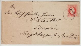 Austria 1867 5kr Postal Stationery Cover Lend (s) Canc.  To Berlin. photo