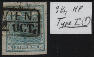 Austria 1850 9kr,  Hp,  Type I.  Well Margins.  Wien Canc. photo