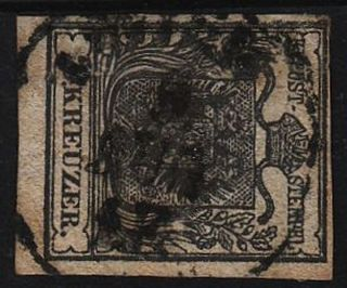 Austria 1850 2kr,  Greyishblack,  Stamp,  Hp,  Type I.  Wien Canc. photo