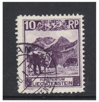 Liechtenstein - 1930,  10r Deep Reddish - Lilac - Perf 10 1/2 Stamp - F/u - Sg 98a photo