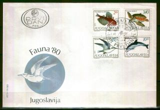 1836 - Yugoslavia 1980 - Sea Life - Birds - Fish - Fdc photo