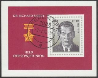 East Germany Ddr Gdr 1975 Cto Mini Sheet - Soviet Agent Dr Richard Sorge photo