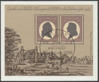 East Germany Ddr Gdr 1982 Cto Minisheet - Goethe And Schiller Block 66 photo