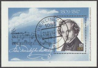 East Germany Ddr Gdr 1984 Cto Minisheet - Felix Mendelssohn Bartholdy photo