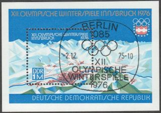 East Germany Ddr Gdr 1975 Cto Minisheet - Olympic Games Innsbruck Block 43 photo