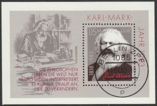 East Germany Ddr Gdr 1983 Cto Minisheet - 100th Death Anniversary Karl Marx photo