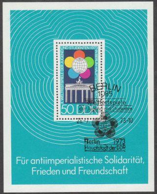 East Germany Ddr Gdr 1973 Cto Minisheet - World Youth Festival Block 38 photo