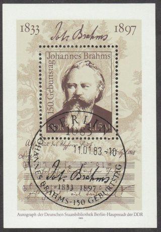 East Germany Ddr Gdr 1983 Cto Minisheet - Composer Johannes Brahms photo