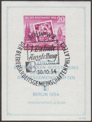 East Germany Ddr Gdr 1954 Cto Minisheet - Stamp Day Block 10 photo
