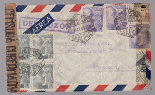 1945 Spain Dual Censored Cover To Usa photo
