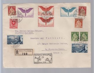 1925 Switzerland First Flight Cover Ffc To Nairobi Benghazi Khartoum photo