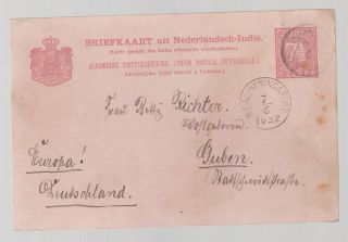 1892 Netherlands Indies Postal Stationery Cover To Germany Via Singapore photo