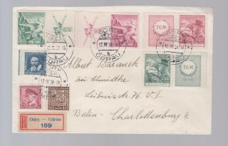 1938 Odry Odrau Czechoslovakia Registered Cover To Germany 241 - 242 Label photo