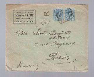 1925 Barcelona Spain Red Wax Seal Registered Cover To France Ediciones Artistica photo