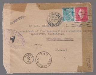 1945 France Dual Censored Cover To Usa Postage Due photo