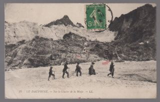 1916 France Rppc Postcard Cover To Usa Meije Glacier Mountain Climbing Judaica photo