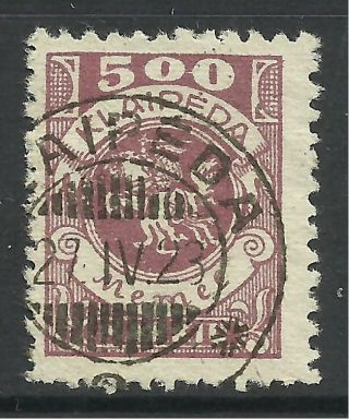 Memel - Klaipeda.  1923.  500m Purple.  Sg: 26.  Fine. photo