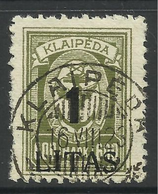 Memel - Klaipeda.  1923.  1 Litas Bold Figures Surcharge On 600m.  Sg: 78.  Fine. photo