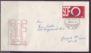 Czechoslovakia,  Fdc Sent To Usa,  1321,  Intl.  Trade Union Federation,  20th Ann photo