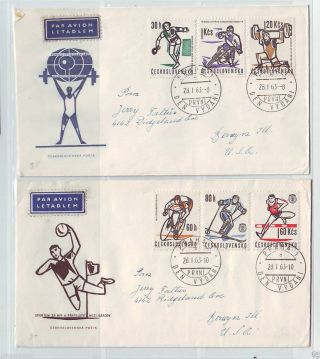 Czechoslovakia,  Fdc Sent To Usa,  1150 - 55,  Various Sports Events photo