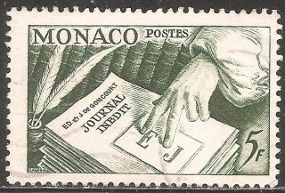 Monaco: 1953 Scott 301 - Books,  Pens,  Page - (5f Green) - photo