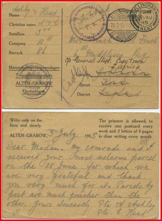 1915 Pow Postal Stationery.  Censored Post Card From British Pow photo