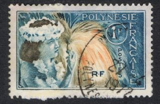 French Polynesia.  1 F.  Rf.  Airmail.  Cancelled Stamp In.  1977 photo