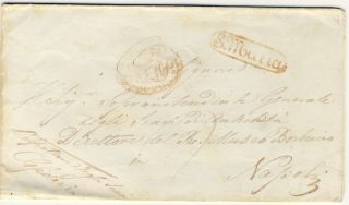 1848 Italy Stampless Cover Sent To Naples Napoli photo