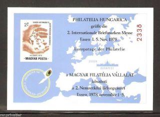 Hungary 1978 - Intl.  Stamp Fair Essen.  Cardboard.  Commemorative Sheet. photo