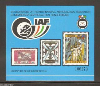 Hungary 1983 - Intl.  Astronautical Federation Iaf.  Commemorative Sheet. photo