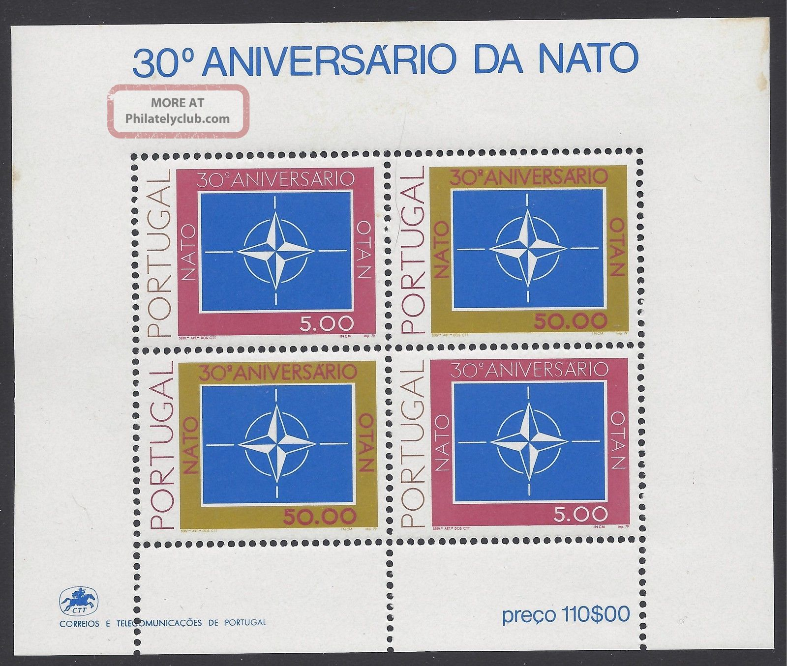 Portugal 1979 Nato 30th Anniversary S/s Sc 1422a Nh Europe photo