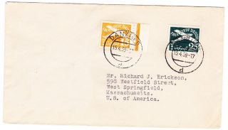 Germany/danzig: 1939 Airmail Cover To U.  S.  Scott C37 & C38 photo
