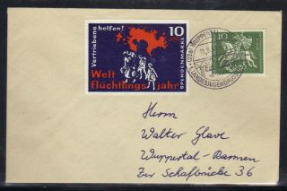 Germany Cover Wuppertal Local; Sg 1260 + 10pfg World Refugee Year; 11 May 1961. photo