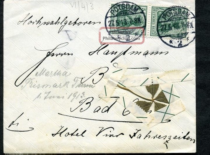 German Dr Cover Mi85ia Mef 4 Leaf Clover Taped W/ Selvage Potsdam 27.  5.  1913 Europe photo