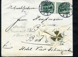 German Dr Cover Mi85ia Mef 4 Leaf Clover Taped W/ Selvage Potsdam 27.  5.  1913 photo
