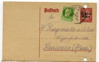 German States Post Card Bayern10pf+ 5pf Otzing 1920 photo