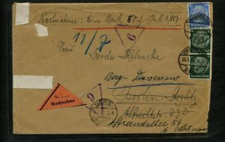 German Dr Nachmahme Cover Magdeburg 28.  6.  1935 Reroute Berg Hnd Stps End Tear photo