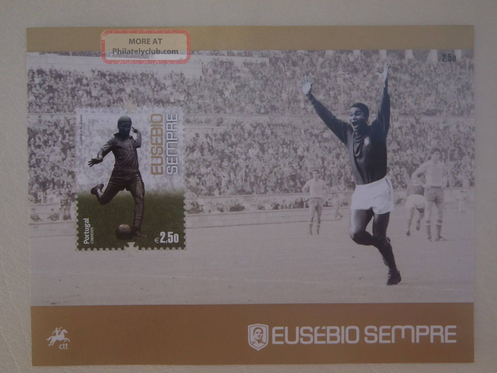 Eusebio Forever Fantastic Tribute Stamp Portugal King Soccer Cup 2014 Europe photo