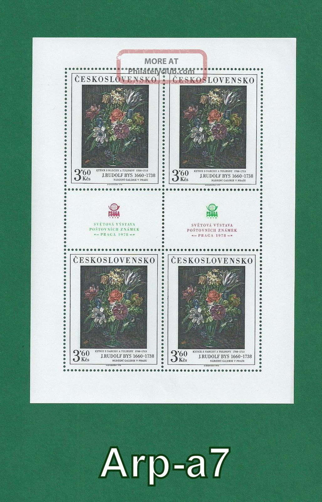 Czechoslovakia Counter Sheet Art (daffodils And Tulips) 1976 Europe photo