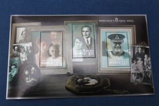 Norway Block 2003 King Olav V 100th Anniversary - Royal Family Portraits photo