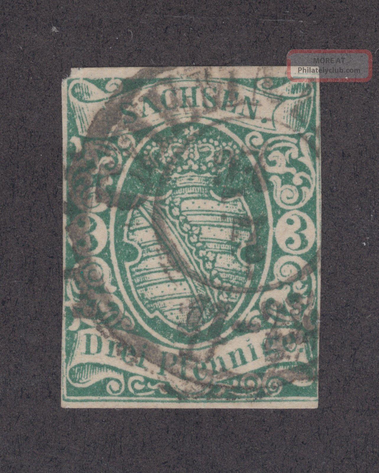 Saxony Sc 2 1851 2a Green Coar Of Arms,  Chemnitz Cds,  4 Margins Europe photo